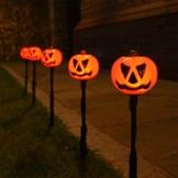 5 Außen Herbst/Halloween Kürbis Steck Leuchten, LEDs orange, von Festive Lights -