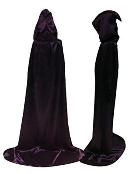 Damen Herren Halloween Umhang Karneval Fasching Kostüm Cape mit Kapuze Lila -