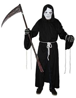 Foxxeo 40028 | Sensenmann Kostüm mit Maske Sensemann Sensenmannkostüm Halloween Halloweenkostüm L - XXXL, Größe:L/XL -