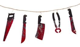 Girlande * WHY SO SERIUS * für Party und Geburtstag // Kindergeburtstag Kinder Feier Fete Set Partykette Halloween Messer Blut Horror -
