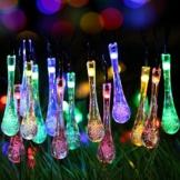 Uping® Solar Lichterkette 30er led Wassertropfen für Party, Garten, Weihnachten, Halloween, Hochzeit, Beleuchtung Deko in Innen und Außenbereich usw. Wasserdicht 6,5M mehrfarbig -