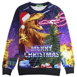 BFUSTYLE Frohe Weihnachten Drachen Sankt Druck Lässig mit langen Ärmeln Pullover Hemd -