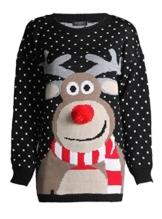 FK Styles Unisex Weihnachtspullover Rudolph Drucken 3D Nase Pom Pom -