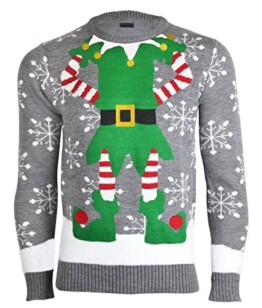 Herren Damen Unisex Christmas Reindeer Gingerbread Man Neuheit Strick Jumers (Mens XL (Ladies 48-50), Elf Grau) -