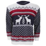 Herren Strickpullover / Pullover mit weihnachtlichem Rentier-Motiv (X-Large) (Marineblau/Weiß) -