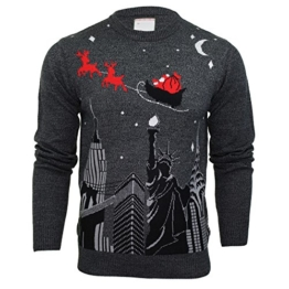 Herren Weihnachtspullover Merry Xmas - New York Santa Schlitten Aufdruck (Grau) L -
