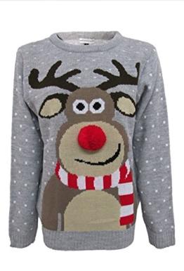 Hina Fashion Frauen Unisex Rudolph Print 3D-Pom Pom Nase Weihnachtspullover Sweater (Medium,38, Grau) -
