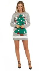 LOOKS FUNNY Premium Lustig Lange Weihnachtspullover Weihnachtspulli Long Pullis Strickpullover im Tunika-Stil f¨¹r Damen mit weihnachtlichen Motiven - L -