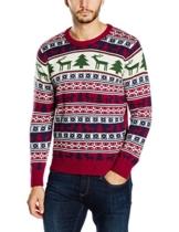 NIZZIN Unisex Weihnachtspullover Elm, Rot (Red 19-1557Tcx), Large -